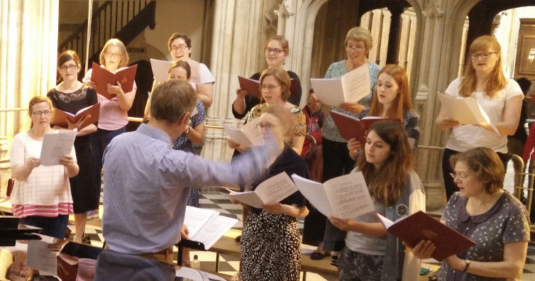 Sopranos and altos from the City of Oxford choir rehearsing